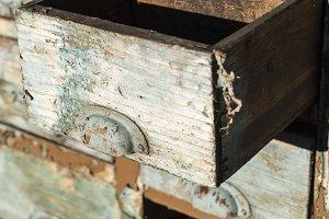 Old wooden cracked storage
