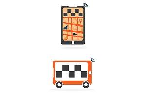 taxi online flat design