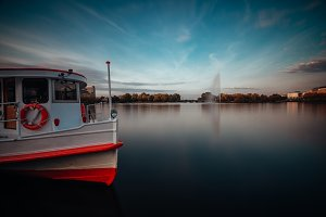 Alster Lake with traditional steamer