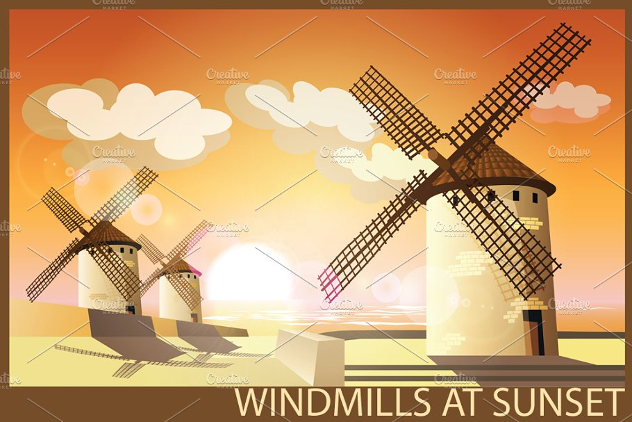 Windmills set in Illustrations - product preview 8