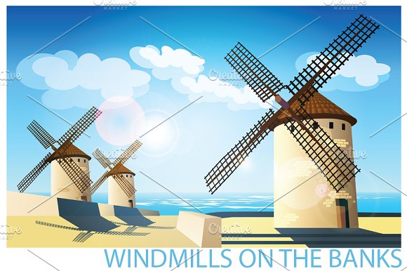 Windmills set in Illustrations - product preview 1