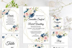 Navy and Blush Wedding Invitation