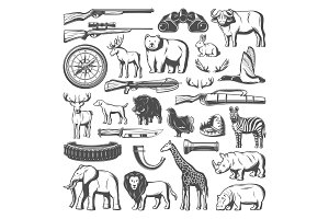 Wild animals and hunting equipment