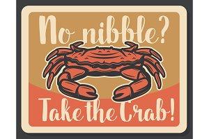 Crab seafood fishing vintage poster