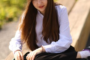 teenager student girl with long brow