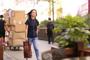 pedestrian tourist teenager girl on