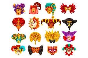 Vector Venetian carnival masks