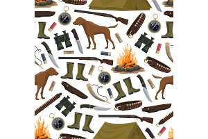 Hunting equipment seamless pattern