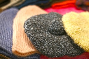 woolen hat assortment on market show