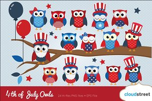 4th of July Owls Clip Art