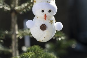 Snowman on christmas tree