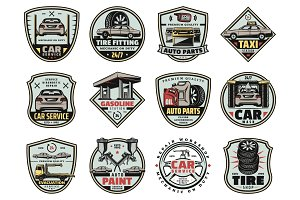Car garage service and repair icons