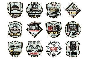 Car garage service and repair icons