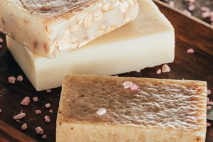 close up of natural soap and salt fo