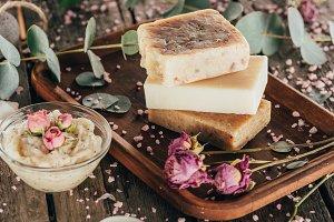 homemade natural soap, roses and spa