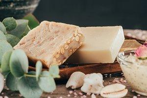 homemade natural soap, eucalyptus an
