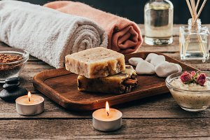 towels, homemade soap, spa treatment