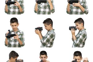 Child making video with camera