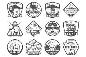 Wild and safari animal hunting icons