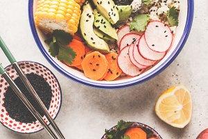 Flat lay vegan poke bowl with rice
