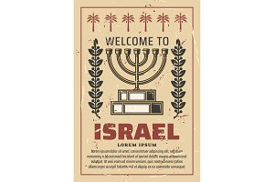 Israel travel poster with Menorah