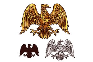 Heraldic golden egale with wings