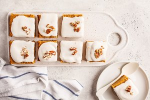 Vegan carrot cake with coconut cream