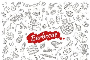 Sketch Barbecue Party Elements Set