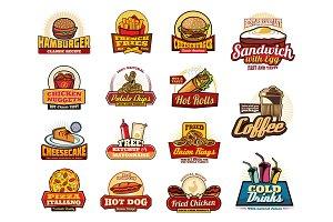 Fast food drinks, dessert, burger