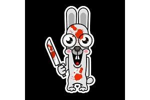 Halloween evil bunny rabbit knife