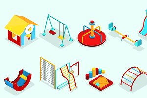 Isometric Playground Elements Set