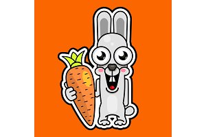Cute cartoon rabbit with orange