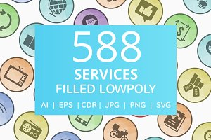 588 Services Filled Low Poly Icons