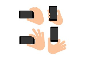 Hand holds a smart phone in vertical