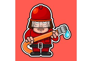 Firefighter. Flat cartoon character