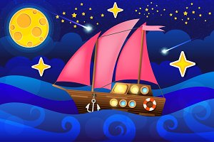 vector illustration sea ship in moon