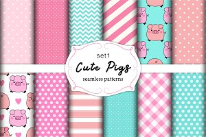 Cute set of pigs seamless patterns