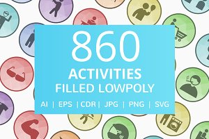 860 Activities Filled Low Poly Icons