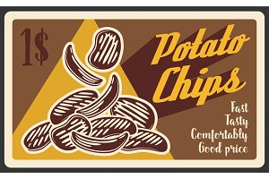 Potato chips fast food, vector