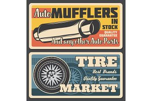 Car mufflers and tire market, vector