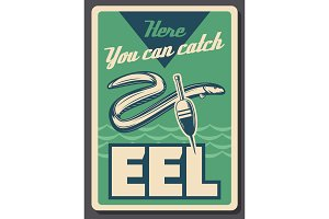 Eel fish fishing and float, vector