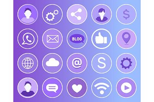 Social Network Signs Icons Vector
