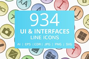 934 UI & Interfaces Low Poly Icons