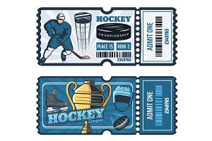 Ice hockey cup game tickets, vector