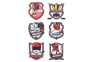 Ice hockey sport team, vector icons