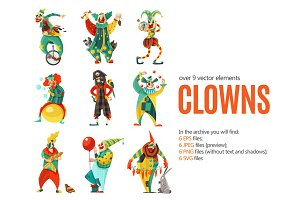 Clowns Cartoon Set