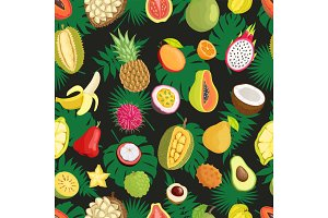 Tropical Exotic Fruits Green Leaf