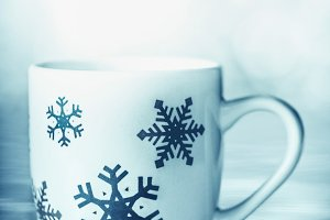 Cup with blue snowflakes