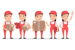 Character delivery people in red