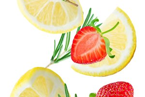 Flying Lemon slices with strawberry